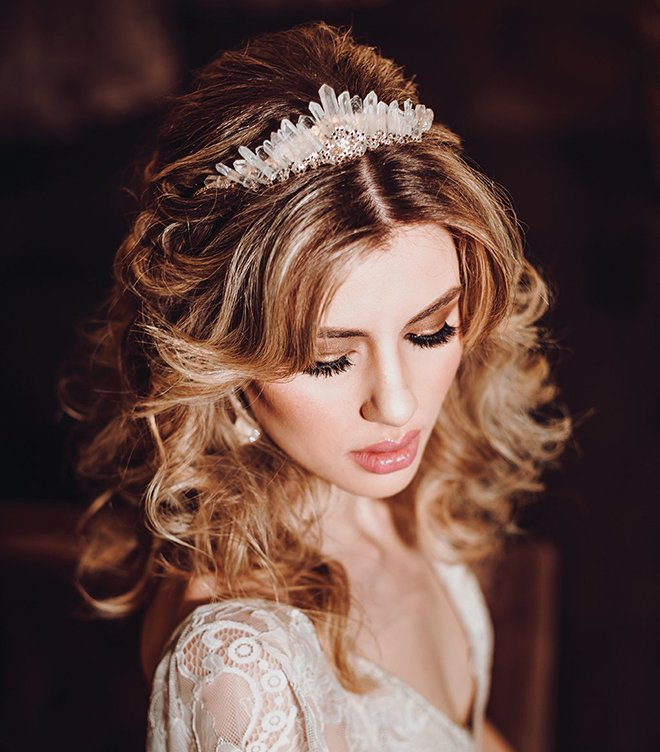 bridal hair & makeup beauty houston stylist crystal bridal tiara headpiece accessory long loose curls bridal hair and makeup wedding beauty wedding hairstyles