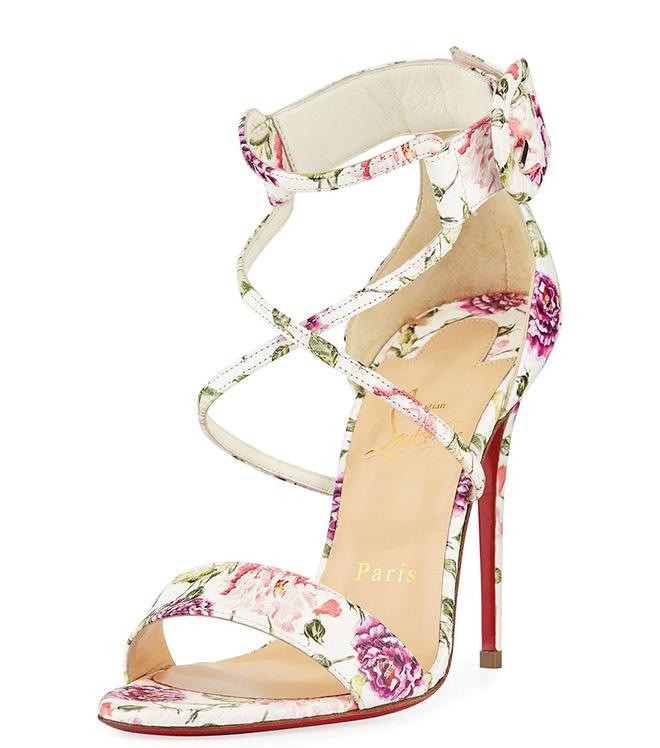designer bridal heels floral print sandals spring summer wedding attire bridal fashion Christian Louboutin cross strap sandal red bottoms floral wedding shoes
