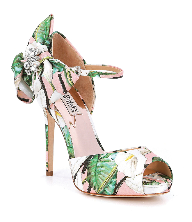 designer bridal heels floral print sandals spring summer wedding attire bridal fashion pink and green bow ankel strap peep-toe sandal Badgley Mischka floral wedding shoes