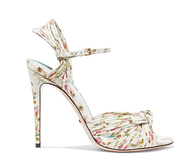 designer bridal heels floral print sandals spring summer wedding attire bridal fashion white ankle strap sandal Gucci floral wedding shoes