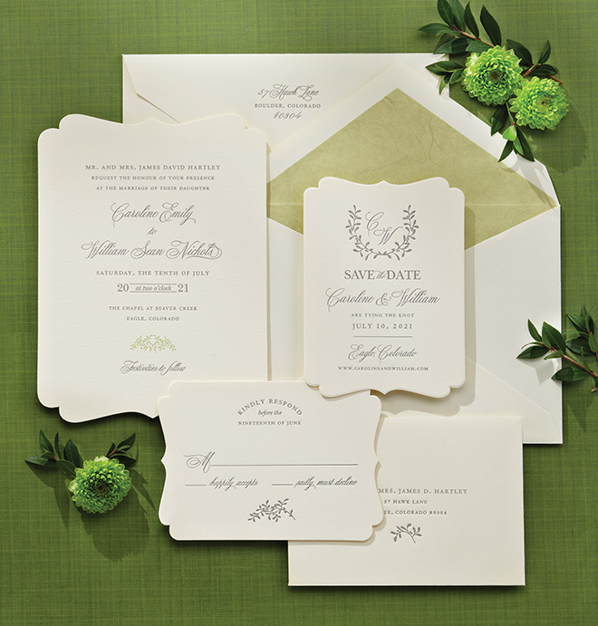 custom wedding invitations ivory and gray classic wedding stationery suite Bering's