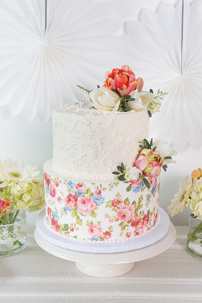 custom wedding cakes white and floral design details flower cake toppers two-tiered cake wedding cake inspiration Dessert Gallery Bakery & Cafe
