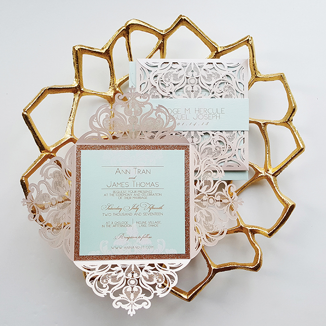 custom wedding invitations blue and blush laser-cut wedding invitation suite