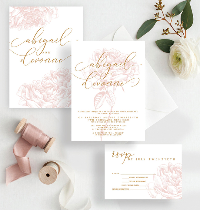 custom wedding invitations white blush and gold print wedding invitation suite
