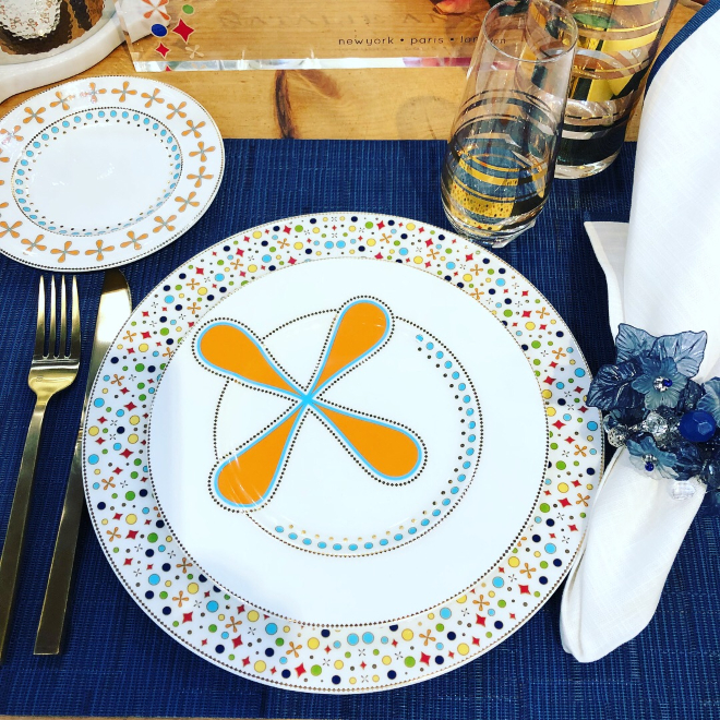Natalie Annette midcentury modern tableware blue orange white gift registry