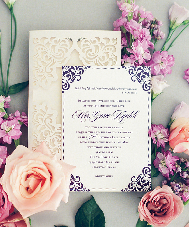 custom wedding invitations purple and cream laser-cut wedding invitations Isabella Invitations