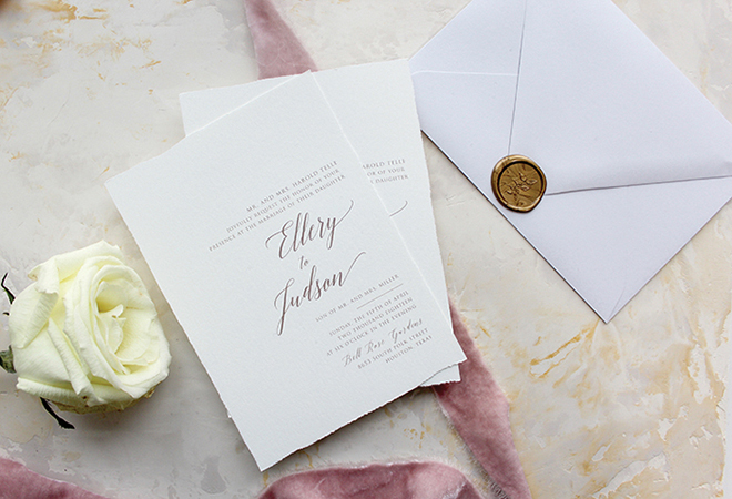 custom wedding invitations white cotton paper wedding invitations with calligraphy Memory Lane Paperie