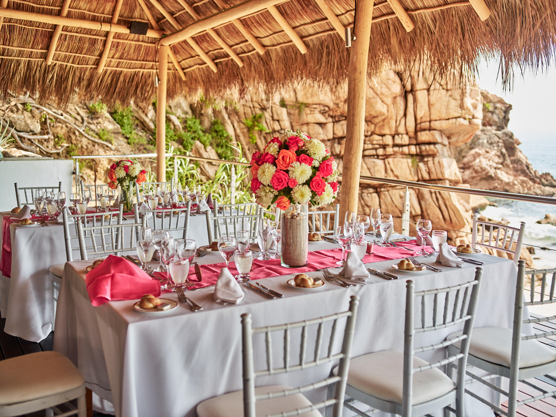 beach destination wedding, Mexico, Puerto Vallarta, summer wedding, reception table decor, beach front wedding reception, coral and white floral centerpieces