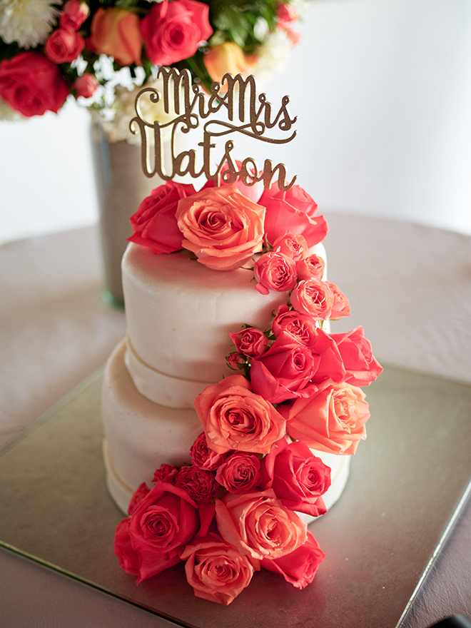 beach destination wedding, Mexico, Puerto Vallarta, summer wedding, wedding cake with flower topping, white two-tiered cake, coral flowers