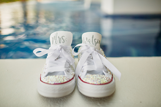 beach destination wedding, Mexico, Puerto Vallarta, summer wedding, bridal shoes, wedding tennis shoes, wedding shoes, bridal flats, bedazzled shoes, custom wedding shoes