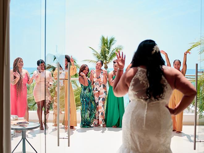 beach destination wedding, Mexico, Puerto Vallarta, summer wedding, bridesmaids, bridal party, first look
