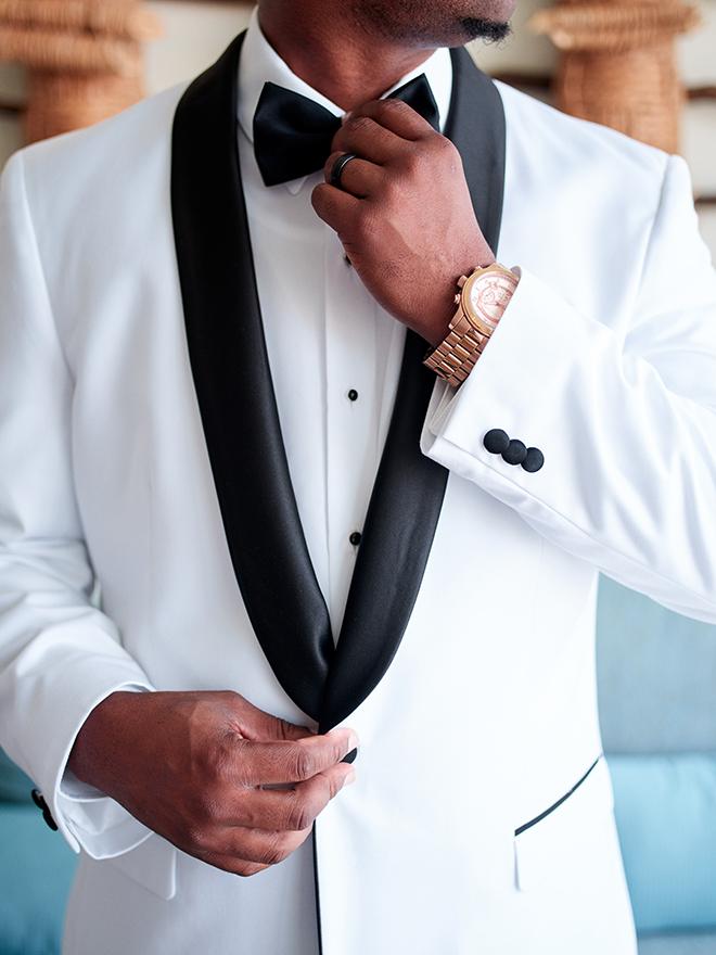 beach destination wedding, Mexico, Puerto Vallarta, summer wedding, groom, wedding tuxedo, wedding suits, men's wedding attire, white formal jacket