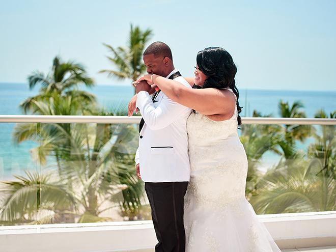 beach destination wedding, Mexico, Puerto Vallarta, summer wedding, bride and groom, first look