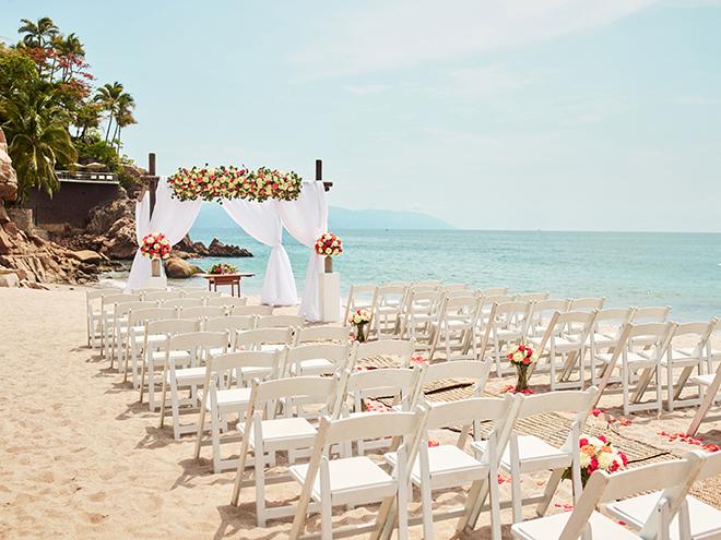 beach destination wedding, Mexico, Puerto Vallarta, summer wedding, ceremony decor, floral canopy, wedding ceremony,