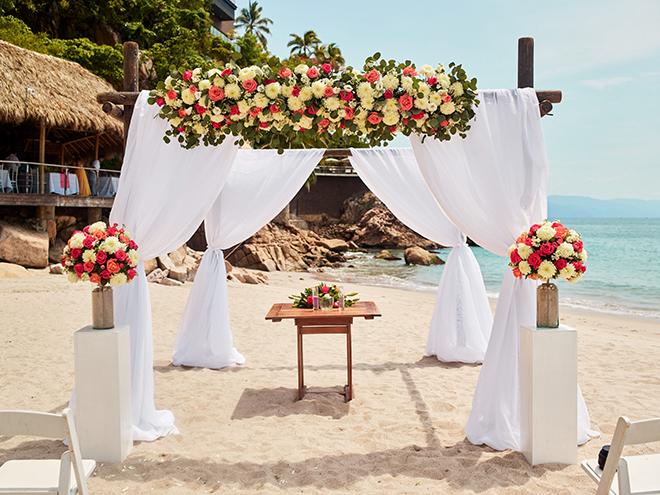 beach destination wedding, Mexico, Puerto Vallarta, summer wedding, wedding floral canopy, beach wedding ceremony, ceremony decor