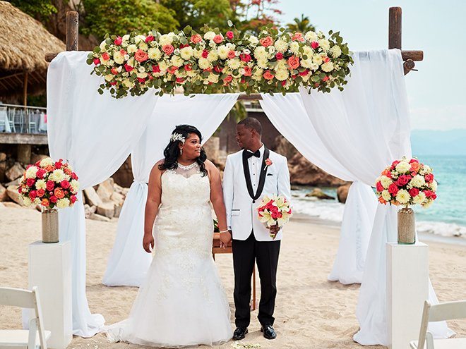 beach destination wedding, Mexico, Puerto Vallarta, summer wedding, beach wedding ceremony, floral canopy