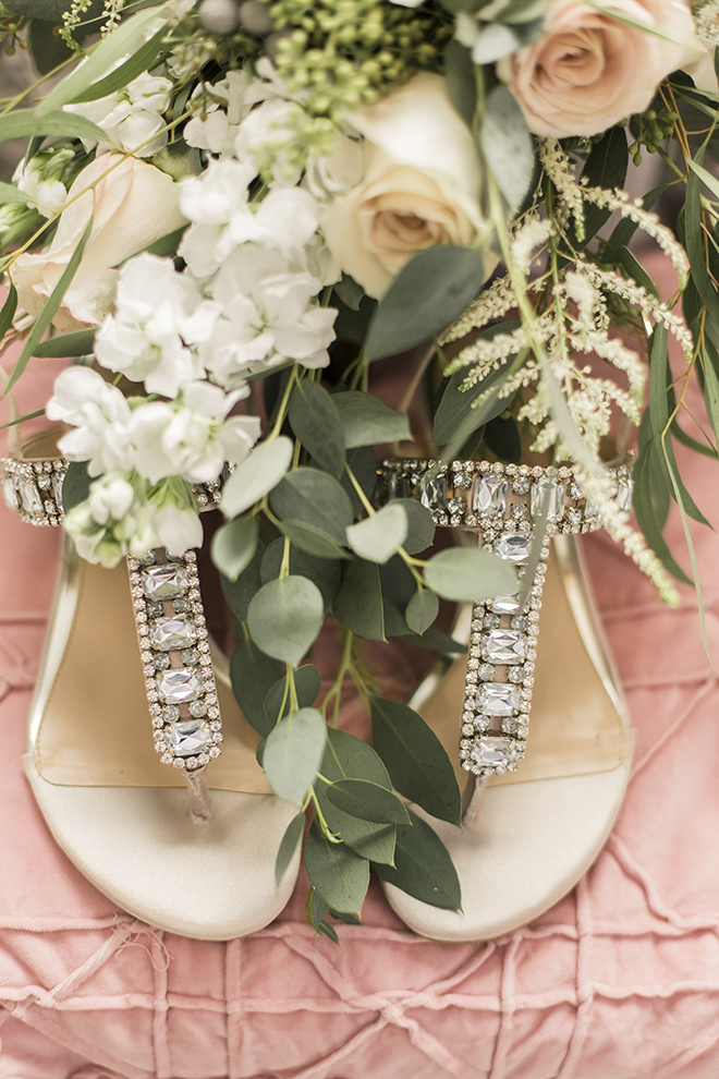 vintage haute flowers wedding, blush and ivory, flat bridal sandals, wedding photography, blush roses
