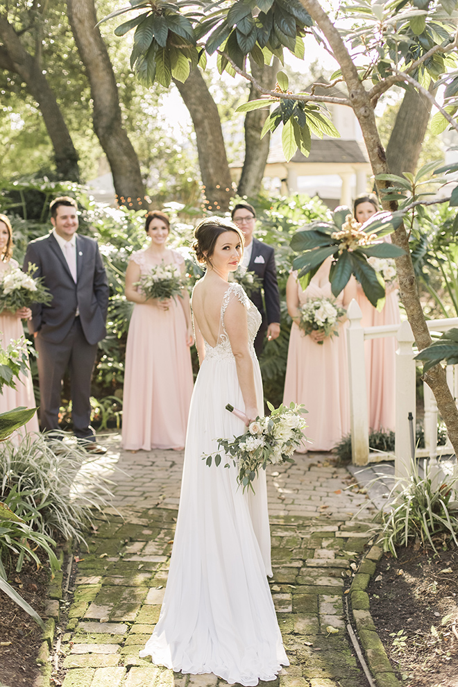 vintage haute flowers wedding, blush and ivory, blush bridesmaids dresses, bridal party, wedding photography
