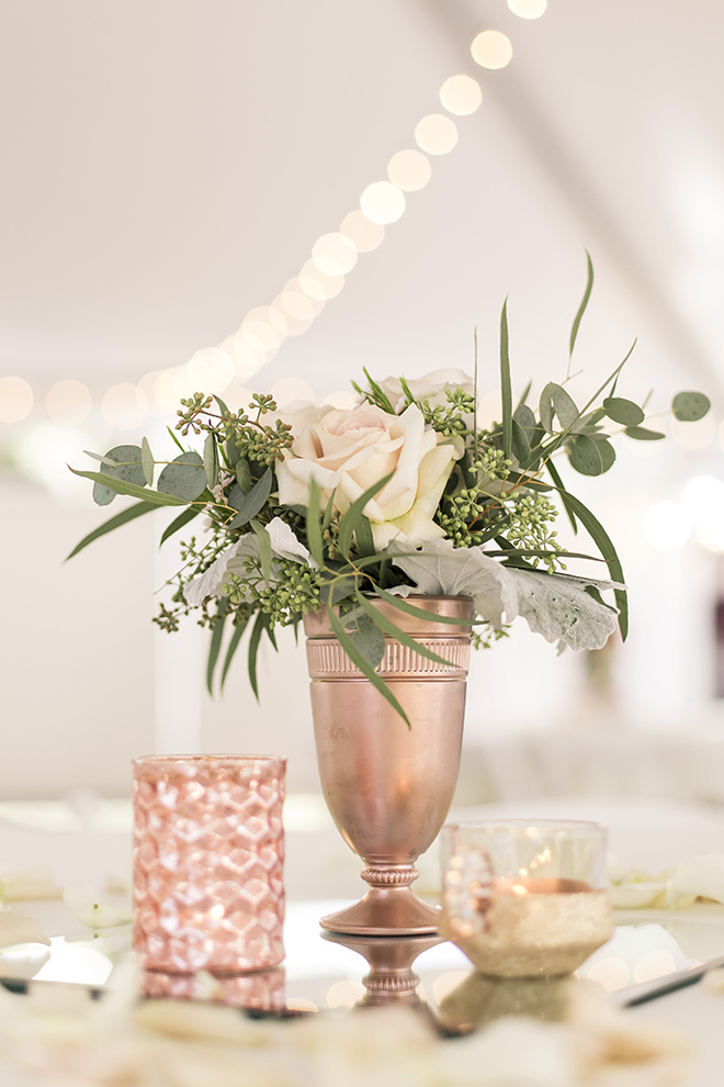 vintage haute flowers wedding, haute flowers and events, simple floral table centerpiece, wedding reception decor, blush roses, rose gold accents