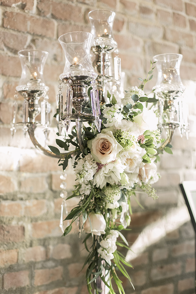 vintage haute flowers wedding, pewter candelabra, vintage wedding decor, blush roses, white dahlias, wedding decor ideas