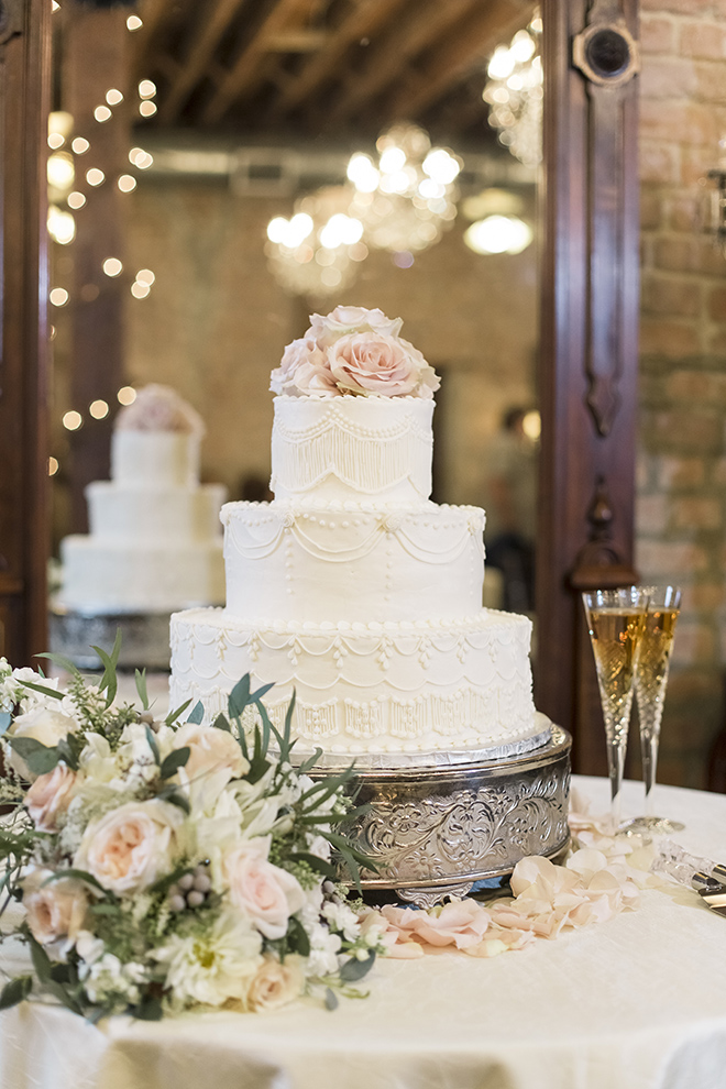 vintage haute flowers wedding, haute flowers and events, bridal bouquets, three-tiered white wedding cake, pewter cake stand, blush rose cake toppers