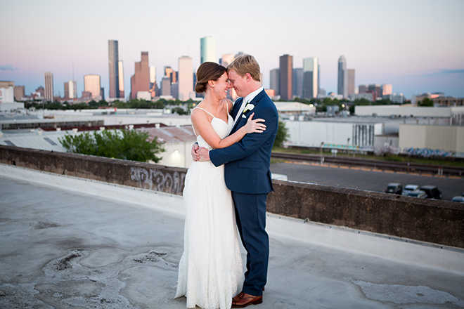 astorian spring wedding, downtown houston wedding venues, rooftop bridal portrait, wedding photography, bride, groom