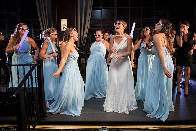 astorian spring wedding, bride, bridesmaids, reception dance floor, wedding entertainment, light blue bridesmaids dresses