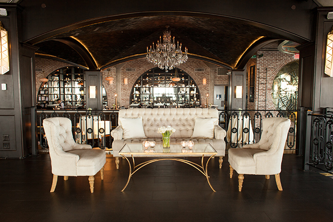 astorian spring wedding, downtown houston wedding venues, white wedding reception decor, the astorian, guest lounge, chandelier, ivory and gold decor