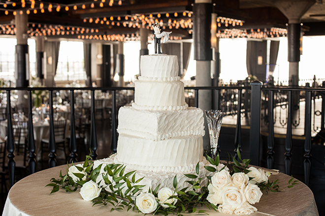 astorian spring wedding, downtown houston wedding venues, white wedding reception decor, white wedding cake, multi-tiered wedding cake