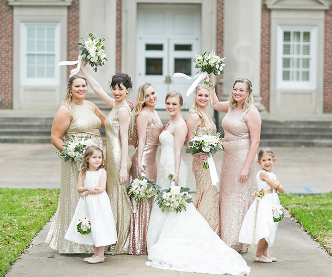california texas wedding, bridal party, bridesmaids, flower girls, wedding photography, rose gold and gold dresses