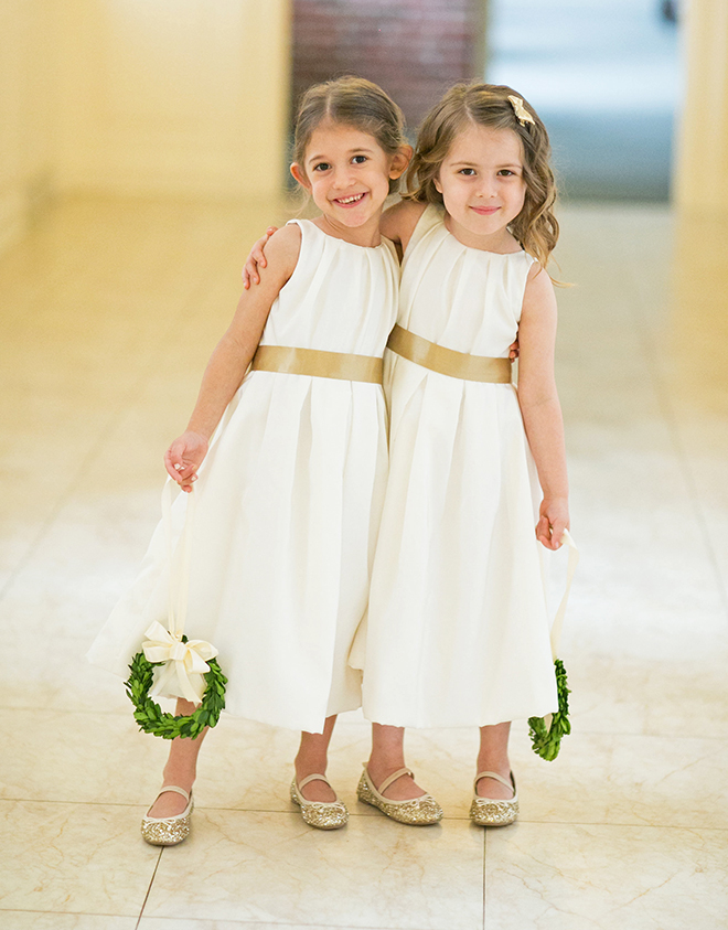 california texas wedding, bridal party, flower girls, white dresses with a gold ribbon, wedding photography
