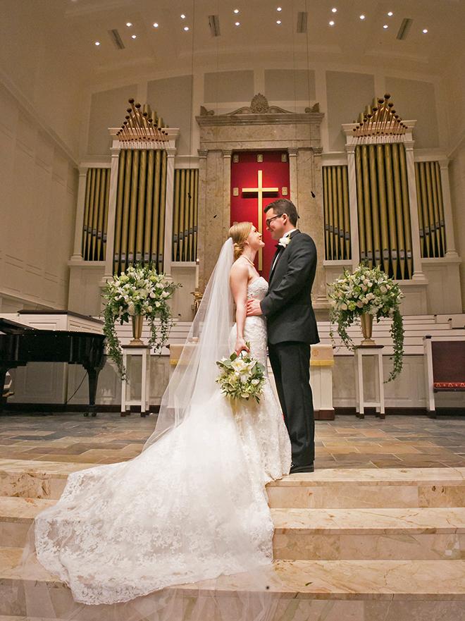 california texas wedding, bride and groom in church sanctuary, church wedding ceremony, bridal portrait photography