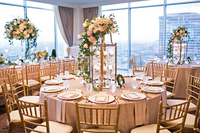 california texas wedding, wedding reception decor, table setting, floral centerpieces, rosegold and ivory, gold chiavari chairs