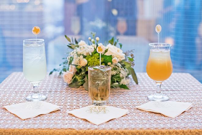 california texas wedding, wedding reception decor, custom wedding cocktails, drink menu, petroleum club of houston