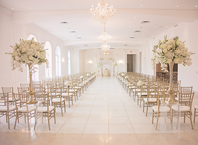 houston wedding, chateau cocomar, white and gold ceremony decor, gold chiavari chairs, wedding ceremony setup, luxe chateau cocomar wedding