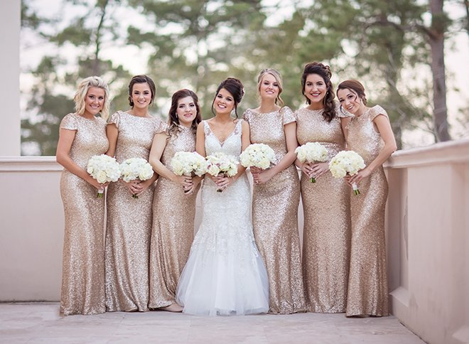 houston wedding, bridal party, bridesmaids, gold sequin bridesmaids dresses, white mermaid wedding dress, luxe chateau cocomar wedding