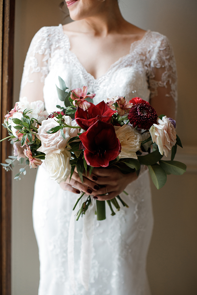 ashton gardens wedding, winter wedding, bridal bouquet, roses red and white flowers, wedding photography