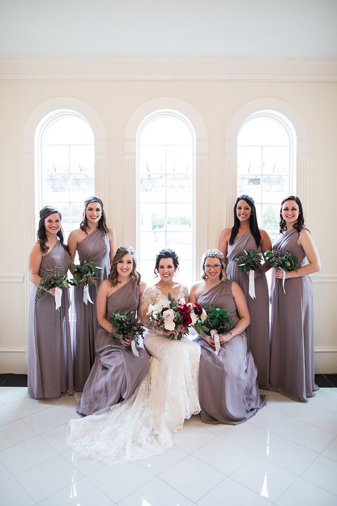 ashton garden wedding, houston wedding, bridal pary, bride with bridesmaids, purple bridesmaids dresses, lavendar