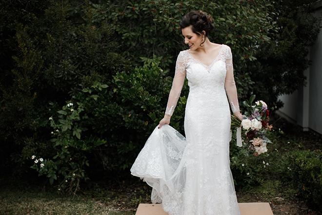 ashton gardens wedding, winter wedding, long sleeve lace wedding gown, bridal portrait, wedding photography