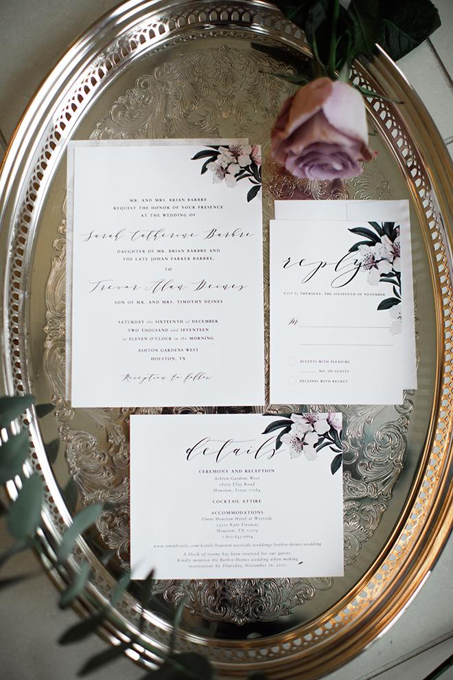 ashton gardens wedding, houston wedding, wedding stationery suite, purple floral design