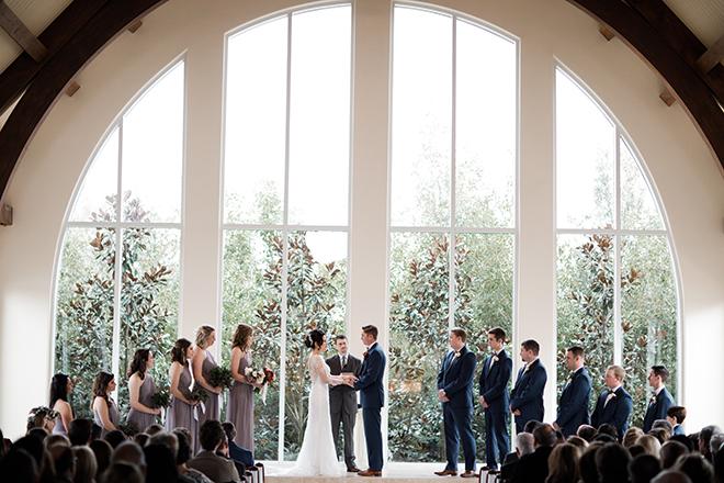 ashton garden wedding, winter wedding, indoor wedding ceremony, exchanging vows