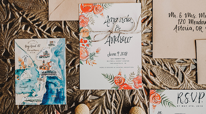 custom wedding invitations water color wedding stationery suite