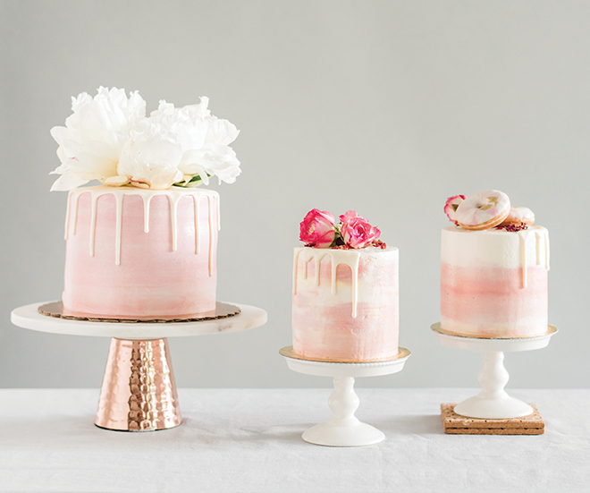 custom wedding cakes white drip icing flower cake toppers pink roses macarons wedding cake inspiration