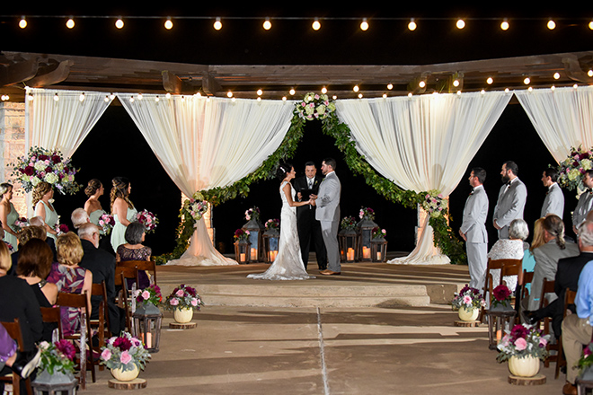 rustic autumn wedding, briscoe manor, kiss and makeup houston, outdoor wedding ceremony, string lights