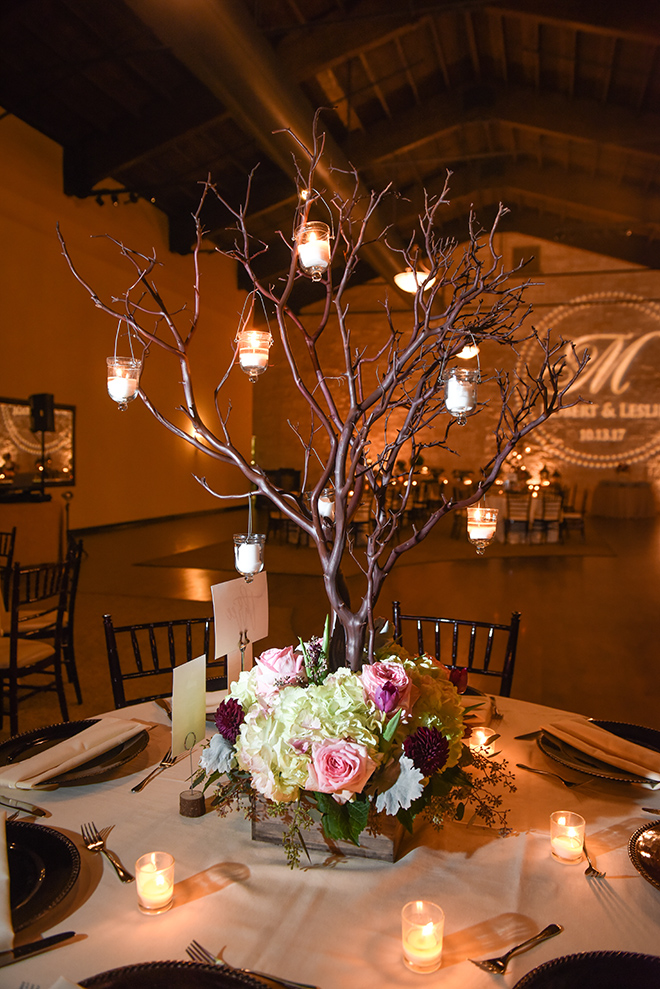 rustic autumn wedding, briscoe manor, kiss and makeup houston, indoor reception, table centerpiece decor, candle lit dinner, pink roses