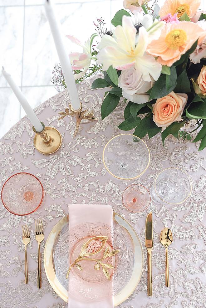 royal wedding inspired shoot, chateau cocomar, jessica frey photography, spring florals, regal wedding decor, blush and gold table setting