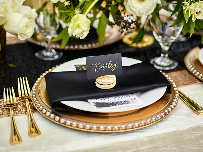 ivory and gold styled shoot, events de luxe, civic photos, sandlewood manor, plantation wedding, black accents, timeless wedding decor, table setting, macrons, calligraphy