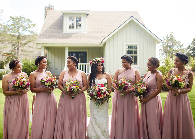 boho chic wedding by plants n' petals, texas wedding, vineyard, plants n' petals, cafe natalie, parvani vida bridal & formal, pine forest country club, bright flowers, bridal photography, bridal bouquets, bridesmaids, pink bridesmaids dresses, flower crown