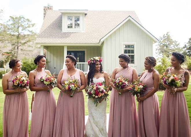 boho chic wedding by plants n' petals, texas wedding, vineyard, plants n' petals, cafe natalie, parvani vida bridal & formal, pine forest country club, bright flowers, bridal photography, bridal bouquets, bridesmaids, pink bridesmaids dresses, flower crown
