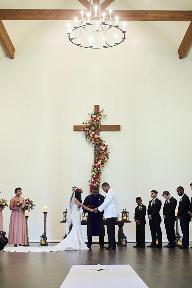 boho chic wedding by plants n' petals, texas wedding, vineyard, plants n' petals, cafe natalie, parvani vida bridal & formal, pine forest country club, bright flowers, wedding photography, cross, wedding ceremony, floral decor